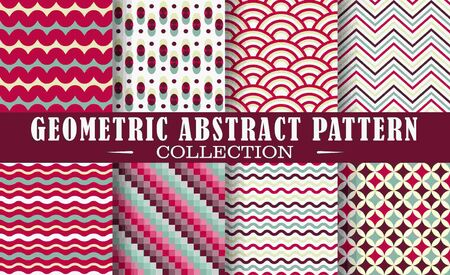 Seamless set of geometric patterns.  Patterns for stationery, package design, background, wallpaper, textile, web texture. Scrap booking paper.