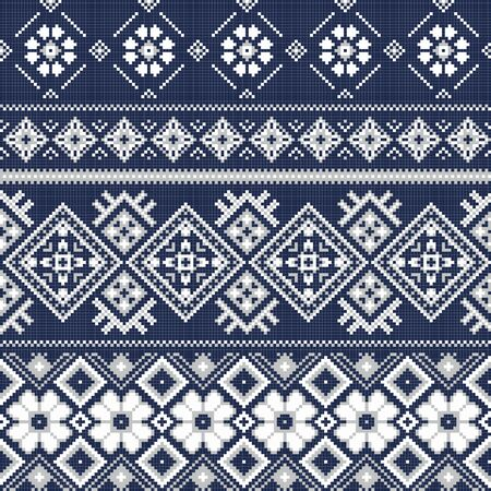 Vector background with traditional embroidery in winter style. Cross stitch embroidery for Christmas. Seamless background pattern. Texture of fabric with embroidery.