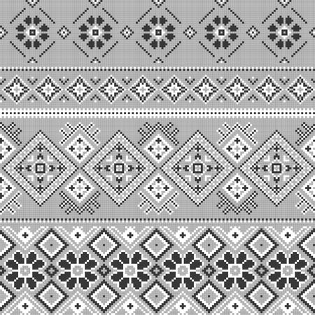 Vector background with traditional embroidery in winter style. Cross stitch embroidery for Christmas. Seamless background pattern. Texture of fabric with embroidery. Foto de archivo - 150015381