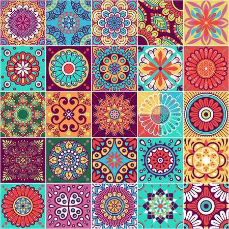 Vector seamless tiles pattern. Abstract tiling background. Ceramic tiles. Traditional ornate decorative tiles.