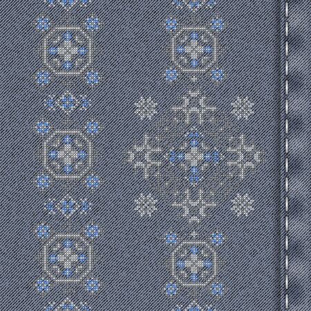 Vector denim background with traditional embroidery. Vector cross stitch embroidery. Seamless background pattern. Texture of denim fabric with embroidery. Vettoriali