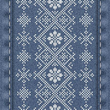 Fond de denim de vecteur avec broderie traditionnelle dans un style hivernal. Broderie au point de croix pour Noël. Motif de fond sans couture. La texture du tissu denim avec broderie. Vecteurs