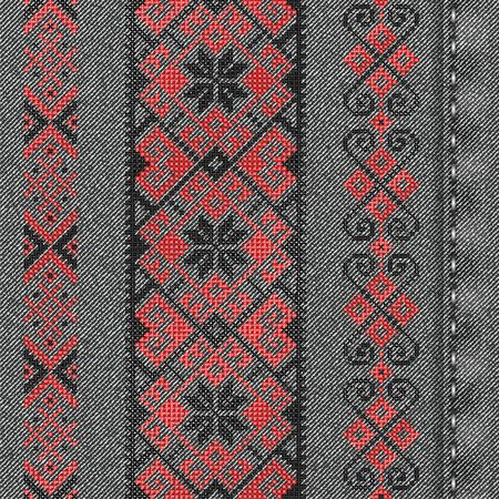 Vector denim background with traditional embroidery in winter style. Cross stitch embroidery for Christmas. Seamless background pattern. Texture of denim fabric with white embroidery.
