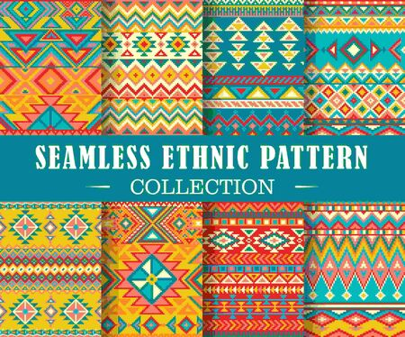 Seamless set of geometric patterns. Vector ethnic design illustration. Tribal texture set. Patterns for stationery, package design, background, wallpaper, textile, web texture. Scrap booking paper.