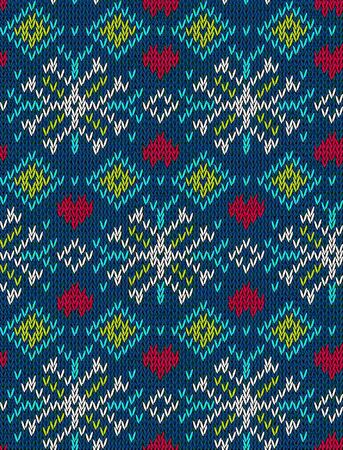 Jacquard knitted seamless pattern. Background for winter holiday, textile, mittens, hats, scarf, packaging, wallpaper, wrapping and other designs. Scandinavian style. Vector illustration. Stock Illustratie