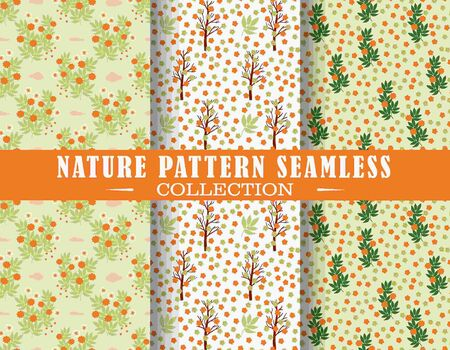 Seamless pattern theme countryside landscape with plants, trees, flowers. Vector design illustration. Patterns for stationery, package design, background,wallpaper, textile, web texture.