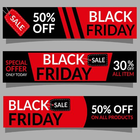 Black Friday Sale banner template. Discount background template. Black Friday's advertisement. Promotion of Black Friday. Black Friday sign design. Ilustração