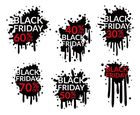Black Friday Sale sale tags splash. Discount background template. Black Friday's advertisement. Promotion of Black Friday.
