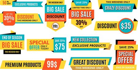 Vector stickers, price tag, banners, labels, cards. Coupons sale, offers and promotions vector template. Discount background template. Promotion advertisement. Illustration