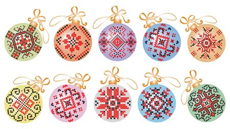 Christmas ornaments with traditional embroidery motifs. Winter season. Vector illustration.