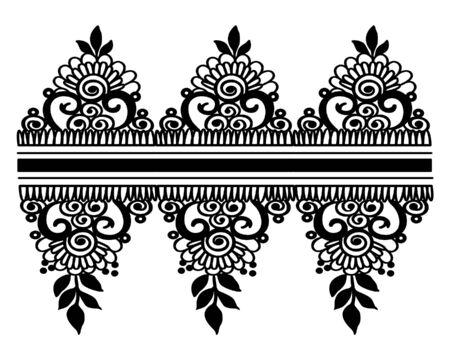 Black and White floral pattern. Vintage floral background. Floral frame or border. Vector illustration Vettoriali
