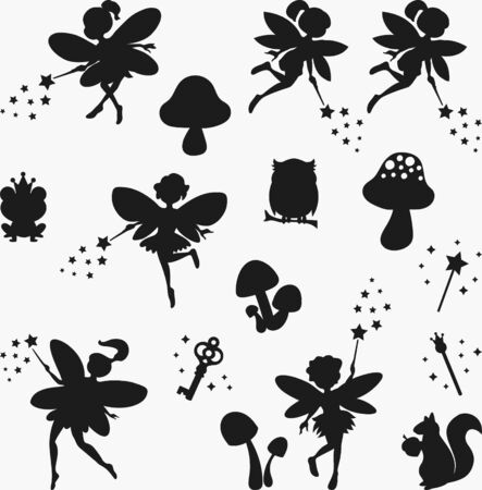 Set of fairies, mushrooms, frog, owl, magic wands silhouettes, isolated drawing elements. hand drawn vector illustration.