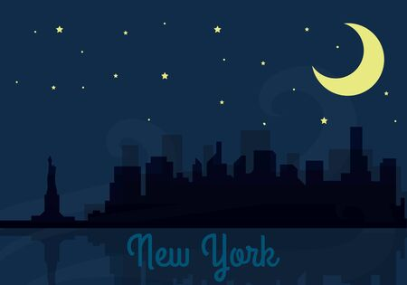 Panoramic New York skyline travel illustration with main architectural landmarks. Citybreak traveling concept. City view and night sky with stars and moon. Building panorama silhouettes. Archivio Fotografico - 150097791