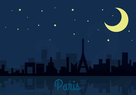 Panoramic Paris skyline travel illustration with main architectural landmarks. Citybreak traveling concept. City view and night sky with stars and moon. Building panorama silhouettes.