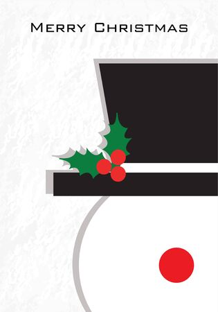 Merry Christmas card.  Vector illustration. Snowman on winter background.