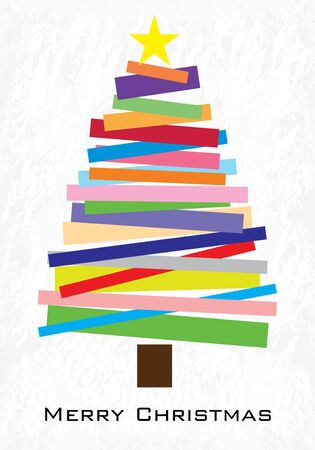Merry Christmas card.  Vector illustration. Christmas tree on winter background. Vectores
