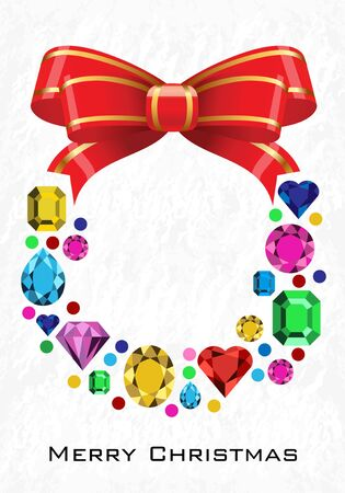 Merry Christmas card.  Vector illustration. Diamonds wreath  on winter background.