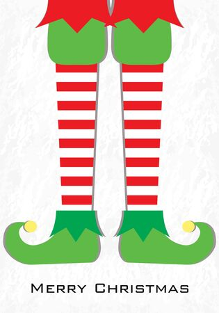 Merry Christmas card.  Vector illustration. Elf feet on winter background.