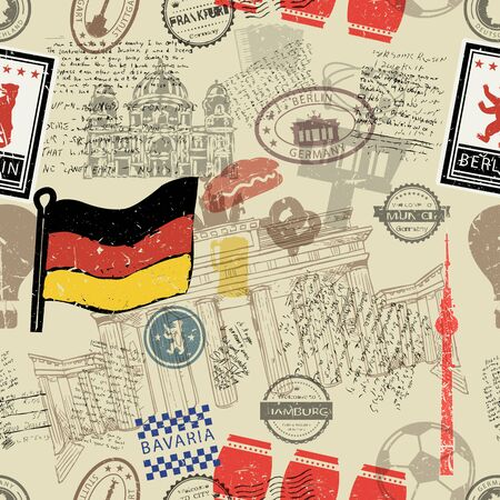 Vector seamless pattern consisting of Germany symbols or icons. Stamps and travel icons collection. Germany symbols on fabric background. Illustration