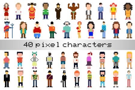 Collection of Pixel Characters is inspired by old style 8-bit gaming character profiles.