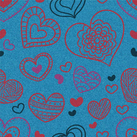 Hearts pattern. Denim background. Blue jeans illustration or print. Vector seamless pattern. Blue jeans fabric. Foto de archivo - 152844967