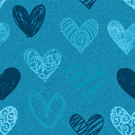 Hearts pattern. Denim background. Blue jeans illustration or print. Vector seamless pattern. Blue jeans fabric. Vectores