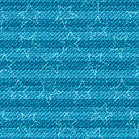 Seamless vector stars print on a denim background. Textile and fabric. Stamp stars.