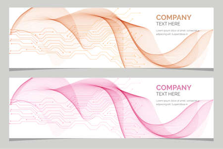 Abstract corporate business banner, web template, horizontal advertising banner, layout template, flat design, geometric waves cover, header background Foto de archivo - 152845187