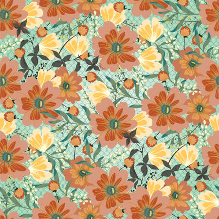 Seamless floral baroque patterns. Vector design illustration. Patterns for stationery, package design, background, wallpaper, textile, web texture. Scrap booking paper.