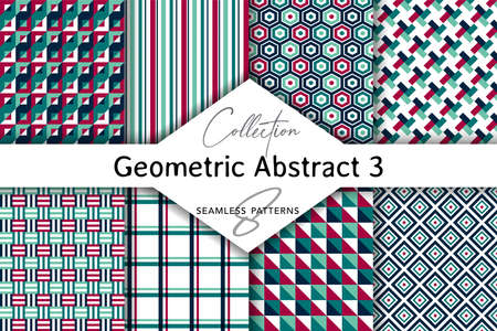 Seamless set of abstract patterns. Patterns for stationery, package design, background, wallpaper, textile, web texture. Scrap booking paper. Foto de archivo - 153798239