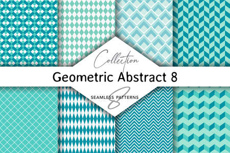Seamless set of abstract patterns. Patterns for stationery, package design, background, wallpaper, textile, web texture. Scrap booking paper. Vectores