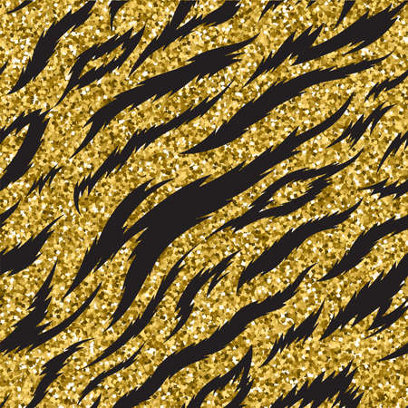 Animal Prints seamless patterns in sparkling gold glitter. Design vector illustration. Fashion cover with animal fur spots in bright yellow color. Wrap or card with exotic zoo decoration Foto de archivo - 153798409