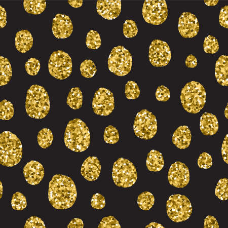 Animal Prints seamless patterns in sparkling gold glitter. Design vector illustration. Fashion cover with animal fur spots in bright yellow color. Wrap or card with exotic zoo decoration