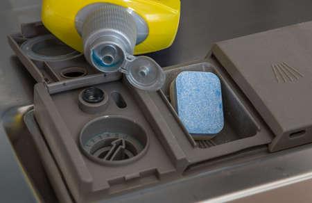 closeup of dishwashing liquid in a plastic bottle an a tab