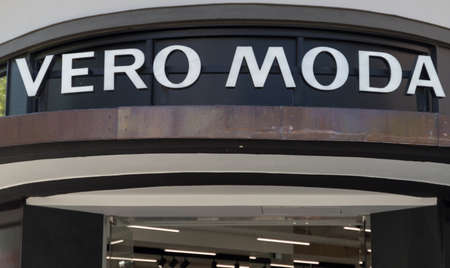 Hildesheim, Germany - April 23, 2020: logo and inscription of Vero Moda, a branch of a fashion store in the city of Hildesheim
