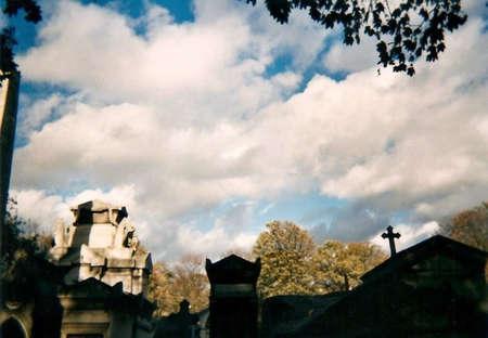 Père-Lachaise in Paris with a cloudy sky