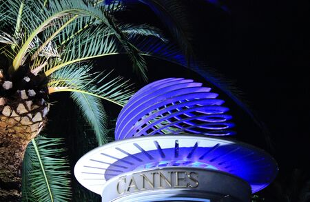 artifice: palm tree in the night in Cannes Stock Photo