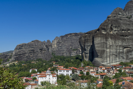 thessaly: Town of Kastraki, Meteora mountains in Thessaly, Greece. blue sky