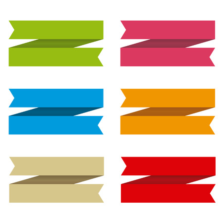Ribbons set for text, differents colors Vector