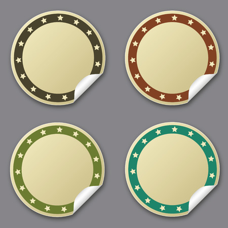 posit: Circle sticker with stars, beige