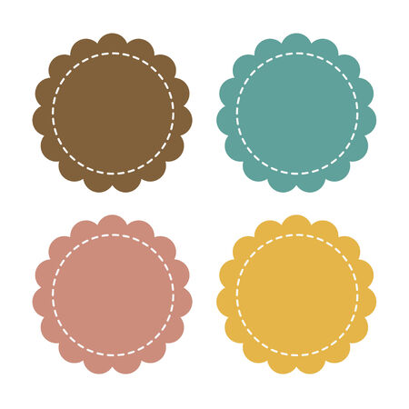 Label fabric with sewing, promotions or qualities Vector