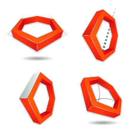 orthogonal: Hexagon 3D logo, for companies or business