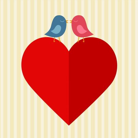 Big red paper heart and two birds kissing over.