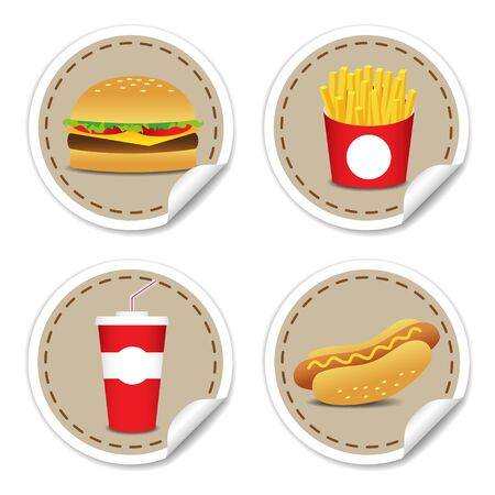 Stickers set of cartoon vector food icons isolated