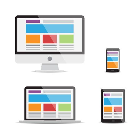 Illustration about the responsive web design in vectors. Isolated objects.
