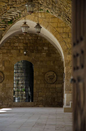 doorway: old church building stone wall through doorway