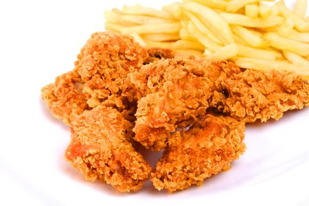 crispy: chicken and fries