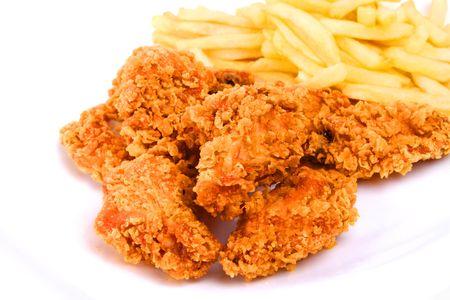 Huhn und Pommes frites Standard-Bild - 7903814