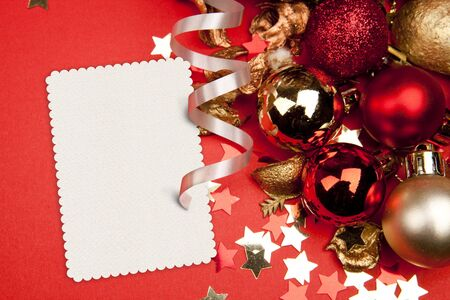 christmas decorations and a blank card Stock Photo - 7976009