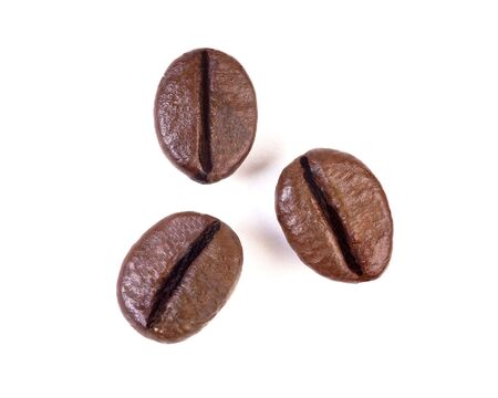 three coffee beans  isolated on white background Banco de Imagens